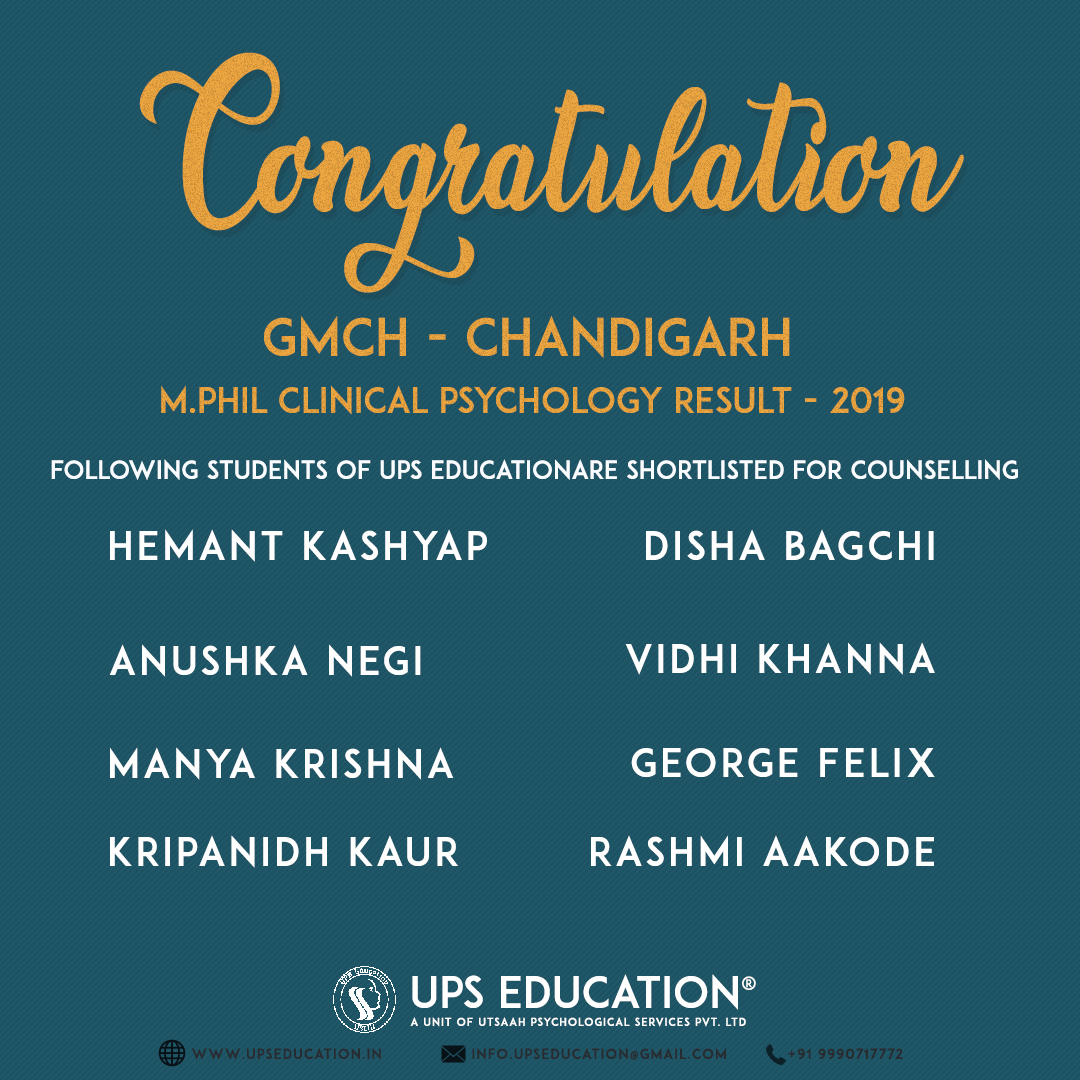 GMCH Chandigarh M.Phil Clinical Psychology Entrance 2019 Result