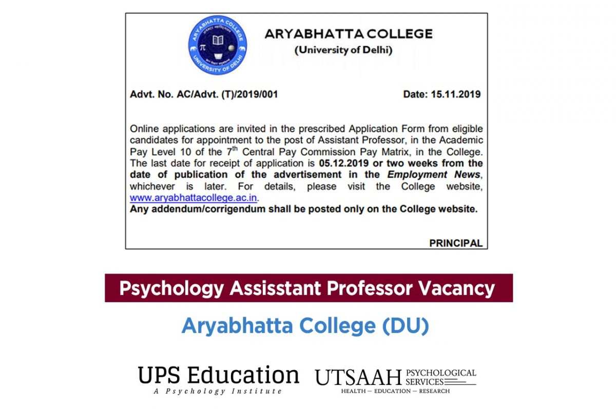 Aryabhatta College (University of Delhi) Vacancy for Psychology Assistance Professor