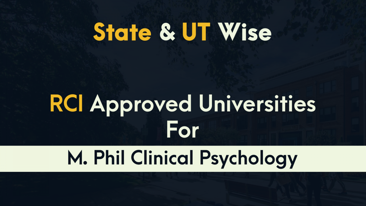 State and UT wise List of M.Phil Clinical Psychology colleges by RCI