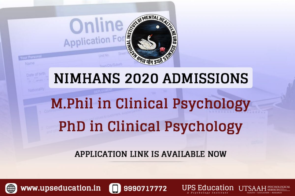 NIMHANS M.Phil and PhD in Clinical Psychology Admission 2020