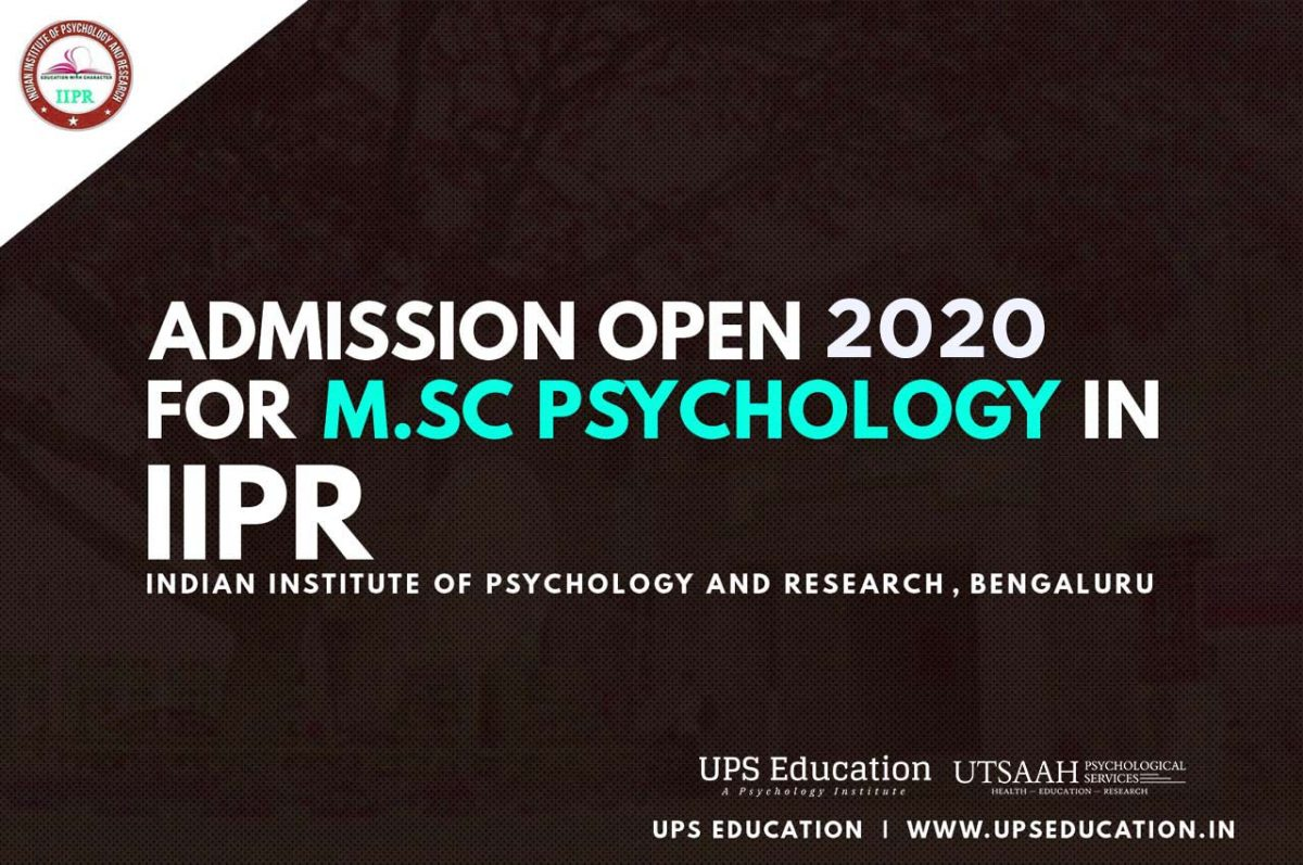 MSc Psychology Admission 2020 Open in IIPR Bangalore