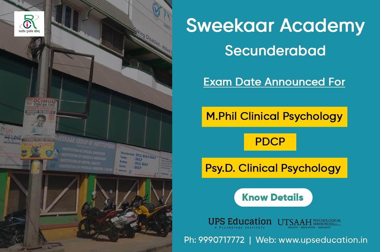Sweekaar Academy Psy.D. / M.Phil Clinical Psychology 2020 Entrance Date Announced