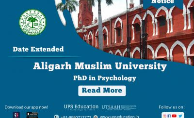 Amu PhD in Psychology last date Extended.