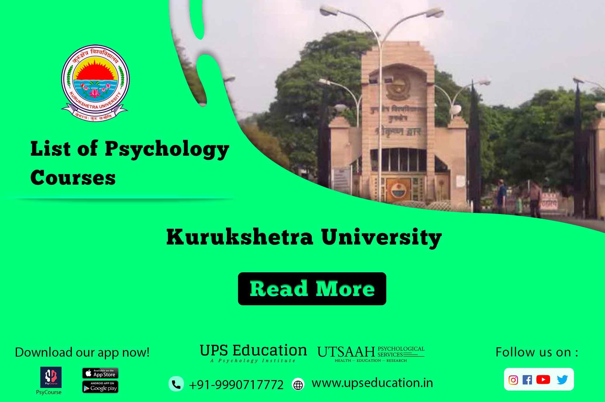 Kurukshetra Univesity List of Psychology Courses.