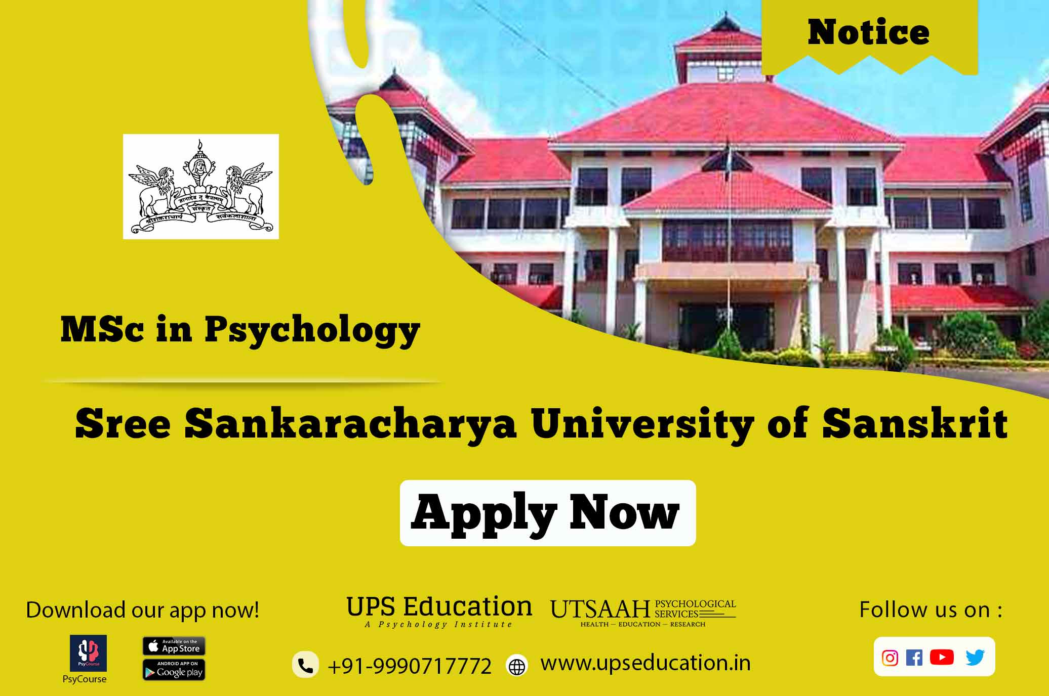 Sree Sankarachary University of Sanskrit, Kalady MSC in Psychology