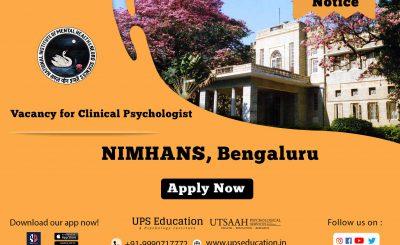 NIMHANS vacancy for Psychologist