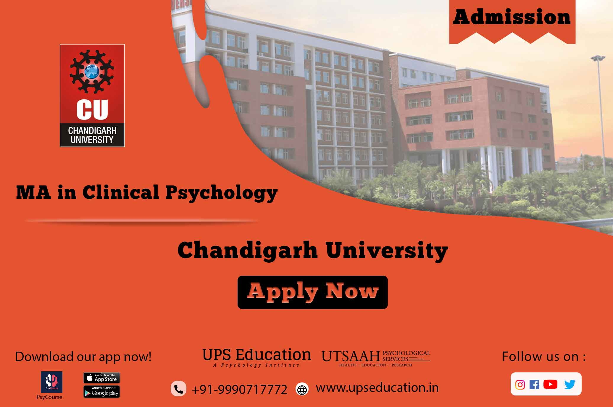 Chandigarh University MA in Psychology Admission form for the session 2021.