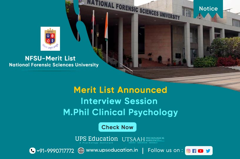 NFSU M. Phil Clinical Psychology Merit list for Session 2021—UPS Education