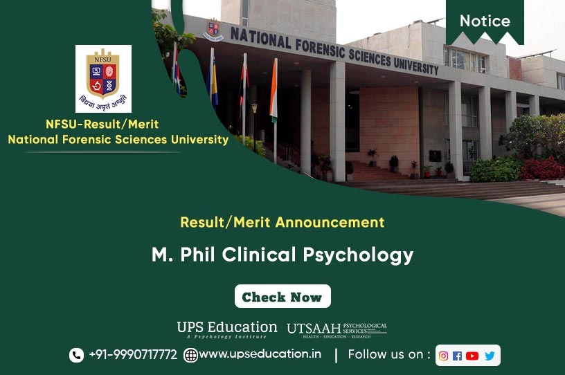 Result/Merit of Candidates for M. Phil Clinical Psychology at NFSU—UPS Education